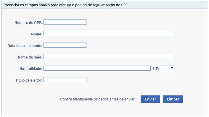 Formulário para regularizar CPF