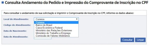 Impressão da inscrição do CPF