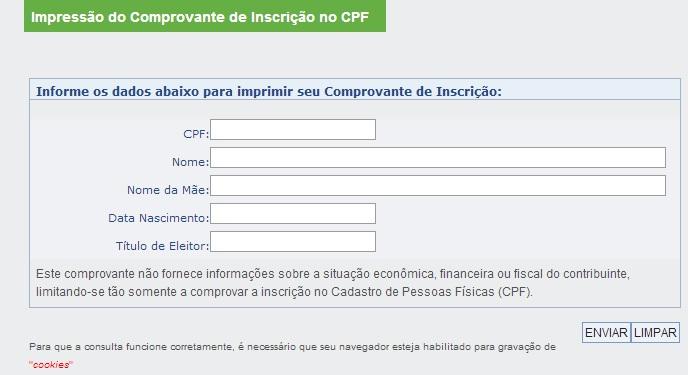 Imprimir CPF mais de 90 dias