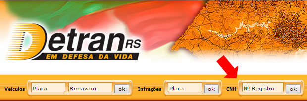 Consulta CNH - Site DETRAN RS